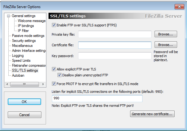 FileZilla Server Settings